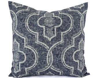 Two Blue Quatrefoil Pillow Covers - Navy Pillow Sham - Dark Blue Pillow Cover - Moroccan Tile Pillow - Navy Trellis Pillow Cover