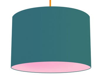 Teal Linen Fabric Drum Lampshade With Contrasting Baby Pink Cotton Lining, Small Lampshade 20cm - Large Lampshade 40cm or Custom Size