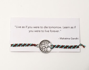 Friendship Bracelet Card - Tree Charm - Gandhi Quote - Green and Brown