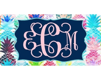 Personalized License Plate,  Monogrammed License Plate,  Auto Tag, Car Tag, Monogram,  Lime, Aqua, Pink, Pineapple