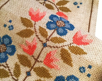 60s mid century modern vintage hand embroidered table runner cotton canvas. Made in Sweden. Scandinavian mod floral design pink and blue