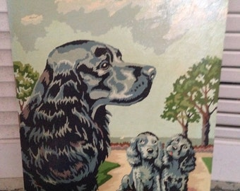 Paint by Numbers Adorable Mother Dog and two Puppies Black Springier Spaniel