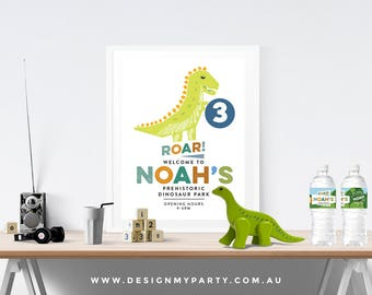 Dinosaur Welcome Party Poster (Personalised DIY Printables)