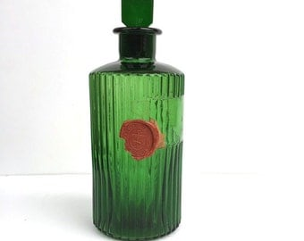 Vintage Victorian Poison Bottle Emerald Green Ribbed Glass Medical Depot Deptford