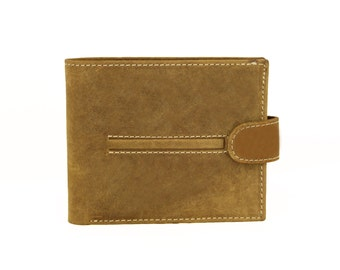Mens Wallet Light Brown Genuine Leather Handmade Sirocco-4112LB