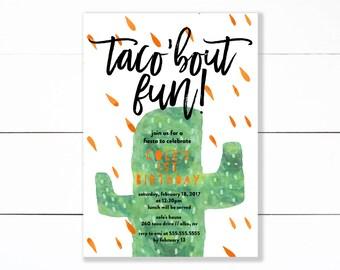 Fiesta Birthday Invitation, Taco Birthday Party Invitation, Taco Truck Birthday Party, Southwestern Party, Cactus- Printable