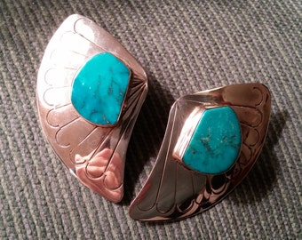 E. Redhorse Navajo Turquoise Etched Earrings