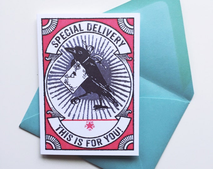 This Is For You Any Occassion Petite Letterpress card RAVEN RED