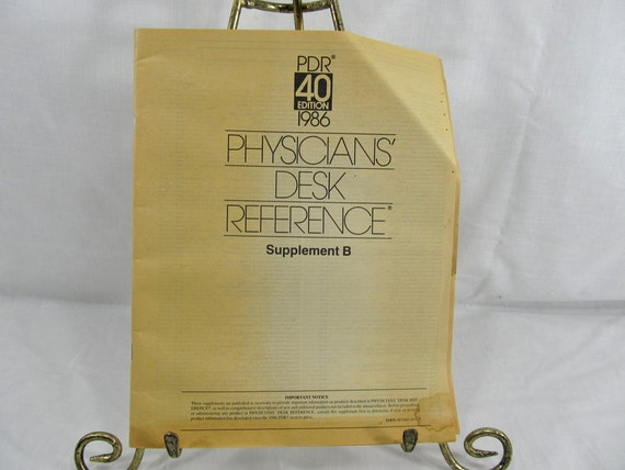 Physician's Desk Reference Supplement B Softcover PDR Edition 1986 includes addendum ISBN 0874898919 Vintage Booklet Medical