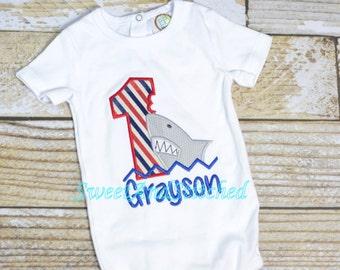Shark birthday shirt, Shark Birthday Tee for 1st, 2nd, 3rd, 4th, 5th, 6th birthday, Shark Cake Smash Outfit, Boys Birthday outfit
