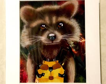 """Rocket Raccoon from Guardians of the Galaxy 11x14"""" Art Print by deShan"""