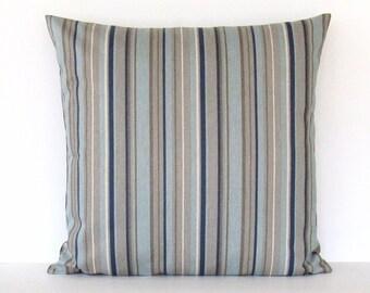 Stripe Pillow Cover Gray Aqua Navy Taupe Brown Decorative Throw 16x16 18x18 20x20 22x22 12x14 12x16 12x18 12x20 14x22 Zipper