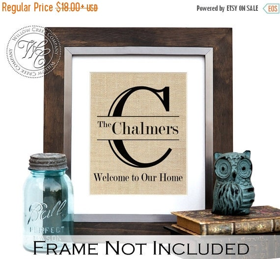 Burlap Housewarming Gift Personalized Gift By