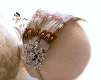 Feather headpiece - Wedding headband - rustic wedding headband - feather headband - headband feather - Ladies fascinator - bridal headpiece