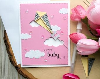 Baby Shower Card - Handmade Greeting Card - Its a Girl - Cute Baby Shower Card - Baby Cards - Greeting Cards, Kite, Baby Girl Card