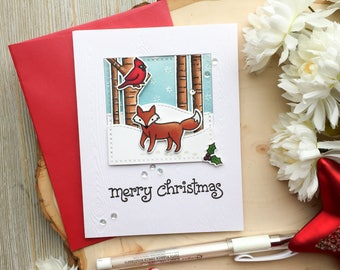 Handmade Christmas Card, Merry Christmas, Happy Holidays, Christmas Card, Merry Christmas Card, Handmade, Snowflake, New Years Card, Forest
