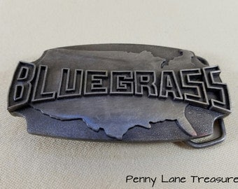Bluegrass Belt Buckle ~ Kentucky State Belt Buckle ~ Metal ~ 1980 ~ Americana ~ Indiana Metal Craft ~ Accessories ~ Penny Lane Treasures