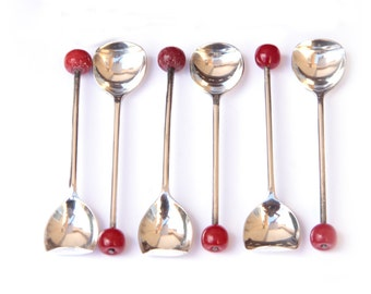 Bakelite Jelly or Jam Bent Tip Spoon Set