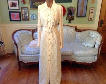 1960s Vintage Cream Lace Maxi Dress by Sameul Grossman