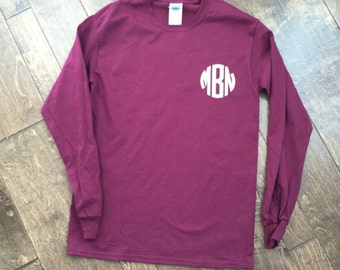 Monogram long sleeve tee - Small monogram on front - personalized monogram tshirt - Birthday gift - Monogrammed long sleeve shirt