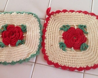 Vintage Hand Crocheted Potholders