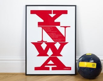Liverpool Football Posters, You'll Never Walk Alone - Typography Print