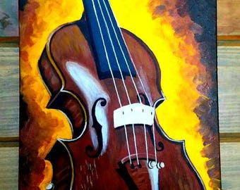 Clearance Sale! Painting of a fiddle or violin by Pamela Henry music instrument brown yellows rust bluegrass musician gift