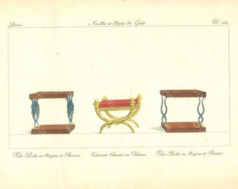 Original Antique Hand Colored Engraving,Furniture from Collection de Meubles et Objets de Goût by Pierre de La Mésangère (1761-1831)
