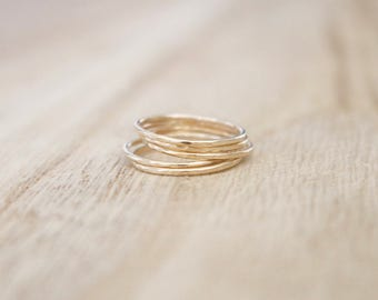 Ultra thin hammered gold stacking rings, gold rings, stacking rings, set of 5, gold stackers, gold fill rings, thin gold ring