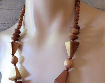 Chunky Wood Beaded Necklace - Bohemian - Tropical Jewelry