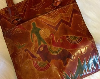 Vintage Leather Tribal Top MTC, 1992  Handel Purse