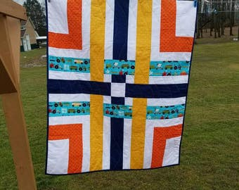 Baby Quilt Handmade Quilted Baby Blanket Toddler Quilt Tractors