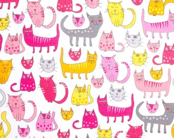 Pastel Long Cats On White Background,100% Cotton Fabric By Robert Kaufman