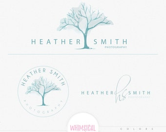 watercolor effect elegant tree -  Premade Photography Logo and Watermark, Classic Elegant Script Font TREE children Calligraphy Logo