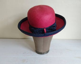Pink Red Straw Hat by Harrods, Boater, Summer, Races, Wedding
