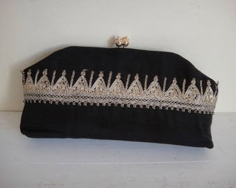 """Vintage Small Black Clutch Bag with Gold Detail - 9"""" x 3.75"""" x 1"""""""