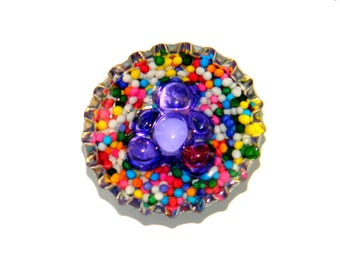 NEW Bottle Cap Magnet - 3-D Gummy Bear Candy Sprinkles - Single Magnet
