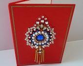 NORMAN HARTNELL. Rare Queens Dress Designer  Original Hand Made 1976 CHRISTMAS Card. Signed inside