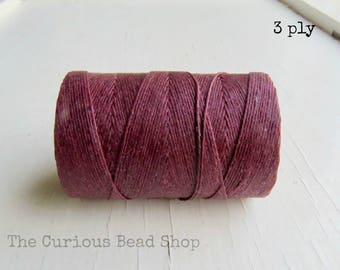 Maroon Irish waxed linen cord 3ply (5 yards) - irish waxed linen cord, irish waxed linen thread Burgundy irish linen, uk irish linen