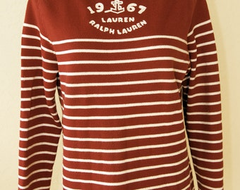 Ralph Lauren Red White Striped 1967 Anchor Logo Laced Shoulders Sweater P/S