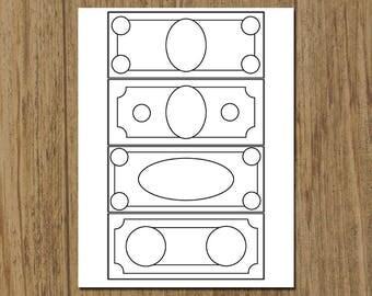Printable Children's Play Money Coloring Sheet - DIY Instant Download - 8.5 x 11 Coloring Sheet - Homeschool Math - Custom Money