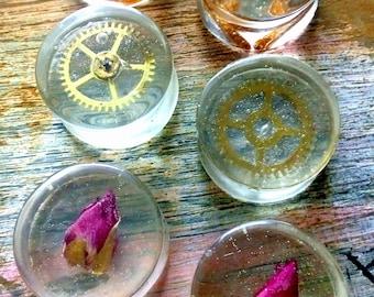 RESIN PLUGS 22 mm - tunnels crazy piercing transparent rosebud maggots Steampunk cogweehls Punk  pincher alternative