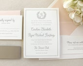 The Rose Wreath Suite  - Sample - Letterpress Wedding Invitation Suite,  Rose, Floral, Wreath, Monogram, Blush, Pink, Taupe, Grey