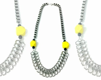 Silver chunky necklace, hexagon beads necklace, big silver chain, chain necklace, silver statement necklace, yellow silver necklace, nulika