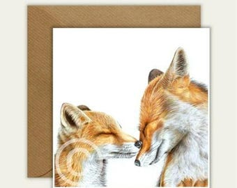 Foxes Cause I Love You Blank Animal Artist Card