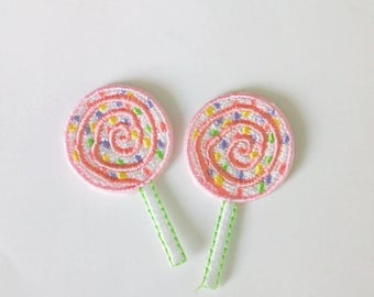 A Couple of Embroidered Tiny Lollipop Sweet Candy Iron on Patch Applique
