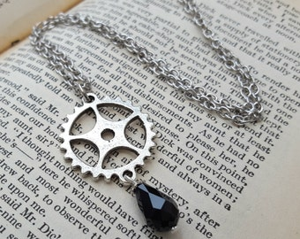 Steampunk necklace - cogs and black bead drop in silver