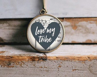 Tribe Necklace, Love My Tribe Quote Necklace, Tribe Jewelry, Inspirational Necklace, Bridesmaid Gift