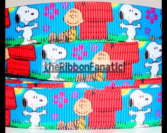 "5 yds 5/8"" Snoopy and Charlie Brown Grosgrain Ribbon"