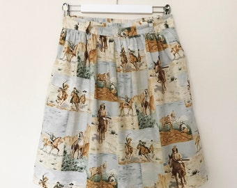Cowboys and Indians vintage skirt